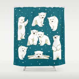 Cute Polar Bear Cubs Shower Curtain