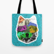 wolf collage Tote Bag