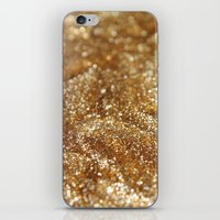 gold glitter iPhone & iPod Skins featuring Glitter by Ellie Rose Flynn
