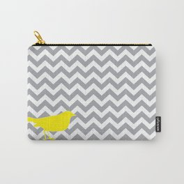 Yellow Bird on Gray Chevron Carry-All Pouch