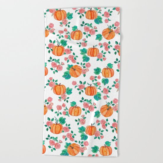 Pumpkins and Roses Beach Towel