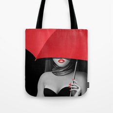 Red lips Variant 2 with red accents Tote Bag