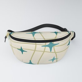 Mid Century Modern Cosmic Star Pattern 693 Cream Turquoise Olive Fanny Pack