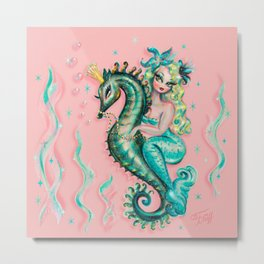 Mermaid Riding a Seahorse Prince Metal Print