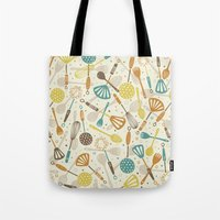 kitchen Tote Bags featuring Kitchen Utensils by Anna Deegan