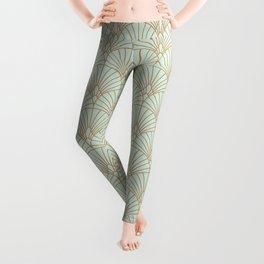 Art Deco fan pattern Leggings
