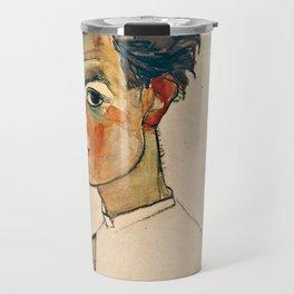 Egon Schiele - Self Portrait With Striped Shirt Travel Mug