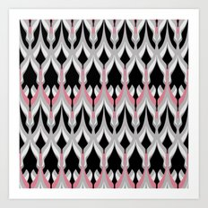 Abstract colorful pink gray zigzag . Art Print