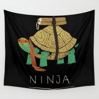 ninja Wall Tapestries featuring ninja - orange by Louis Roskosch