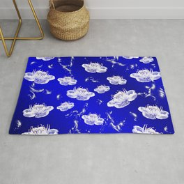 white blossom in blue and silver Digital pattern with circles and fractals artfully colored design Rug
