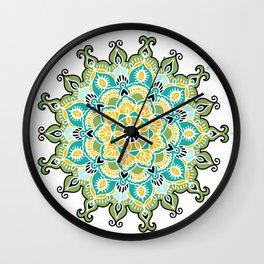 Mandala: Green and Blue Wall Clock
