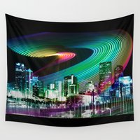 denver Wall Tapestries featuring Colorful Colorado: Denver Skyline by Max Rowe Art