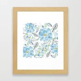 Blue flower garden watercolor Framed Art Print