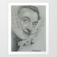salvador dali Art Prints featuring Salvador Dali  by KennethShaw