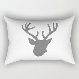 Deer Head: Grey Rectangular Pillow