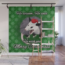 Christmas Opossum Wall Mural