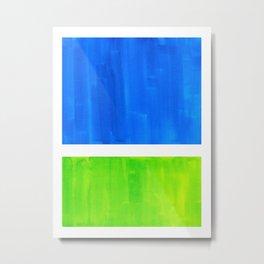 Abstract Minimalist Mid Century Modern Watercolor Geometric Squares Rothko Lime Green Marine Blue Metal Print