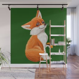 Cute fox playing with a butterfly Wall Mural
