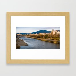Panoramic view of Kamo River in Kyoto Framed Art Print
