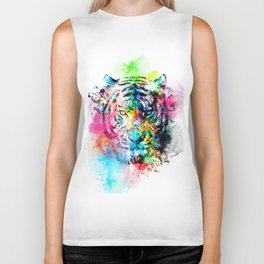 colorful tiger Biker Tank