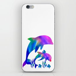 Rainbow Dolphins swimming in the sea iPhone Skin