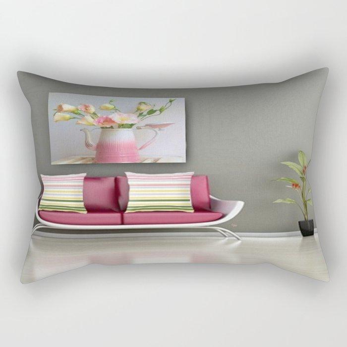 Coffee, Tea or Flowers Vignette Rectangular Pillow