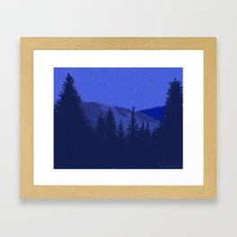 Conifers and Night Sky Framed Art Print
