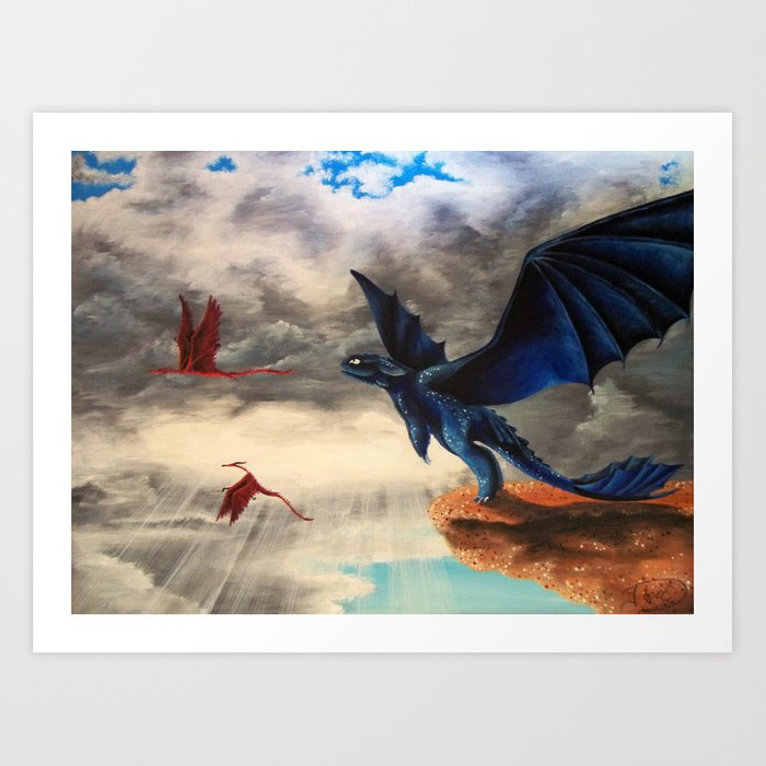 toothless dragons flying art print by artmadebyred society6