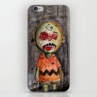 charlie brown iPhone & iPod Skins featuring You're a zombie Charlie Brown by byron rempel