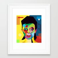 bowie Framed Art Prints featuring bowie by mark ashkenazi