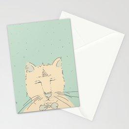 Cartoon cute cat think Stationery Cards