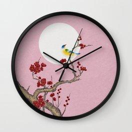 Plum blossoms, bird, and the moon Type G (Minhwa: Korean traditional/folk art) Wall Clock