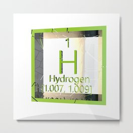 Hydrogen. Element of the periodic table of the Mendeleev system. Metal Print