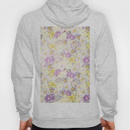 Vintage pattern- Spring in purple and yellow- daffodils and anemones Hoody