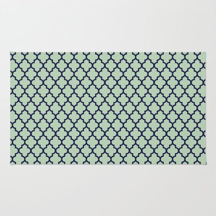 Modern mint green navy blue moroccan quatrefoil Rug