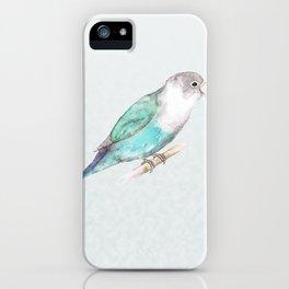 Pale blue lovebird iPhone Case