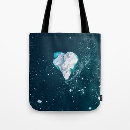 Heart of Winter - Aerial view of Icebergs in the arctic Ocean Tote Bag
