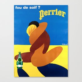 perrier fou de soif  couple vintage Poster Canvas Print