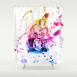 River Song/Doctor Who/Alex Kingston inspired Mixed Media Watercolor Portrait Shower Curtain