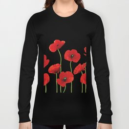 Poppies Field white background Long Sleeve T-shirt