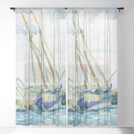 """Henri-Edmond Cross """"Marine Scene (Boats near Venice)"""" Sheer Curtain"""