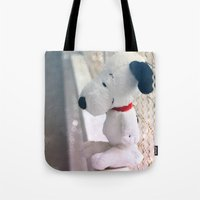 snoopy Tote Bags featuring Snoopy by UliD