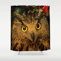 owls Shower Curtains featuring Owls by Ganech joe