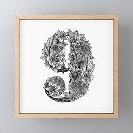 Floral Number 9 Framed Mini Art Print