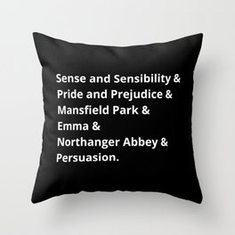 The Jane Austen's Novels II Throw Pillow