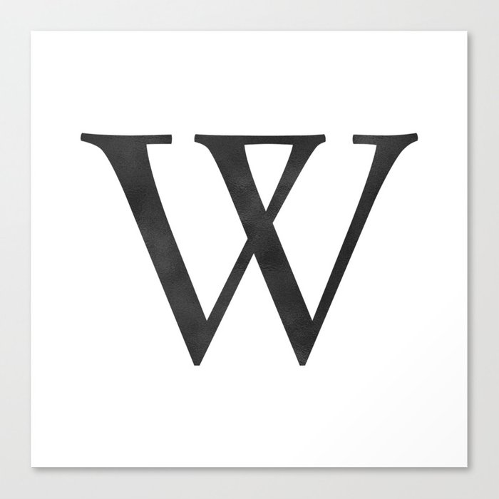 Letter W Initial Monogram Black And White Canvas Print By