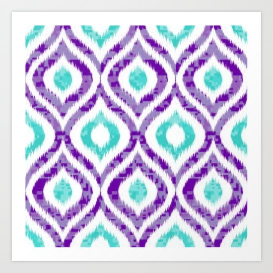 PURPLE & TEAL IKAT PATTERN COPY Art Print