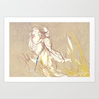 on weighted wings she crept away Art Print