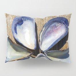 Blue Sea Shells | Blue and White Shell Flower | Beach | Nadia Bonello Pillow Sham