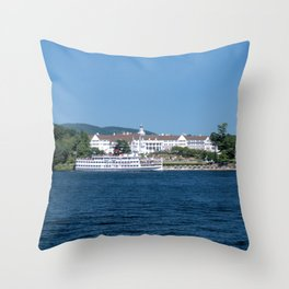 The Sagamore Hotel & Lac du Saint Sacrement Steamboat Throw Pillow
